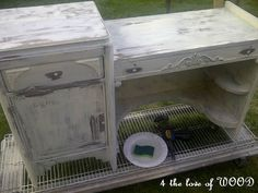 So THAT'S what you use leftover shelving for! Keep your painted furniture from gluing itself to the dropcloth. :)