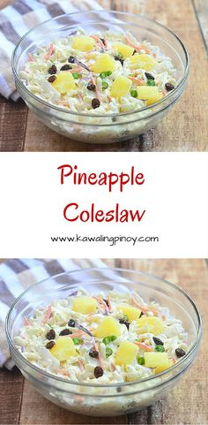Pineapple Coleslaw is a delicious cabbage slaw tossed in a creamy, slightly tangy, slightly sweet mayo and heavy cream dressing