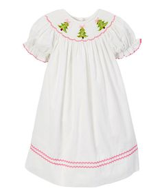 b563d9acc7f Smocked or Not Ivory Christmas Tree Corduroy Smocked Bishop Dress - Infant