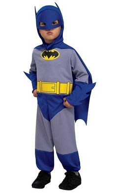 Your toddler will have a super Halloween dressed a Batman. The costume features a blue and gray jumpsuit with printed Batman detail. A headpiece and cape are also included.