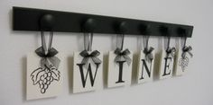 Wine Wall Art for Kitchen Hanging Letters Home Decor Set Includes WINE and Grape Vine with 6 Wood Pegs Black and White Wine Sign