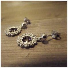 Orecchini in Argento 925 con brillante ametista e zirconi bianchi - Fatto in Umbria - Italia - Collezione Queen- Giorgio Guidi Gioielli