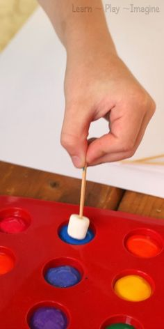 Fine motor art for kids - painting with marshmallows