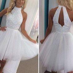 Gd604231 Beauty Graduation Dress,Beading Prom Dress,Tulle Homecoming Dress,High-Neck Prom Dress on Luulla