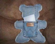 Up cycled Bear Pillows made from Denim jeans on one side and denim or chenille with a recycled pocket on the other side.