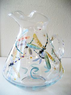 handpainted glass dragonfly pitcher