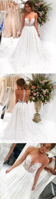 Sparkly Prom Dresses,A-line Prom Dress,Strapless Prom Gown,Long Wedding Dresses,Lace Wedding Dress DS298 #lace #offwhite #aline #prom #wedding #long #okdresses