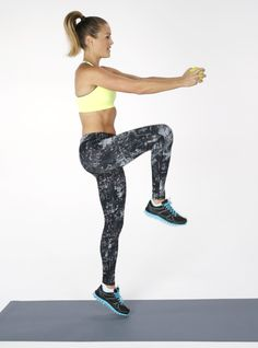 Standing ab work is fast and efficient. The movements translate more readily to daily activities, especially when compared to crunches. This workout requires one medium size dumbbell too.