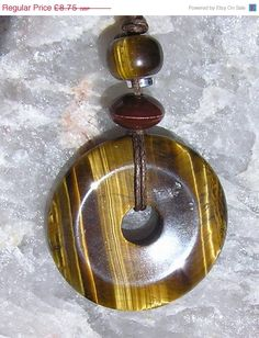 WINTER SALE Gold Tiger Eye Crystal Donut Pendant  by SunnyCrystals, £7.88