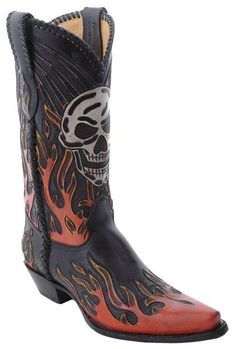 Cowboy Boots with skulls for men | Mens Corral Tooled Skull Flame Cowboy Boots