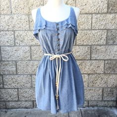 Denim and Lace Dress Wear as a dress or a top! Condition: Previously loved... Worn once.  Flaws: None. Dresses