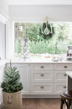 Fir tree in crock, white kitchen - Christmas kitchen tour 2016