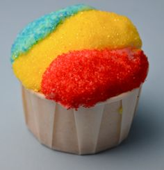 Snow Cone Cupcakes  Colorful and fun with fruity icing and a dense, moist vanilla cake