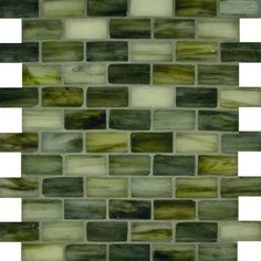 """Sage 1"""" x 2"""" Green Pool Frosted Glass - Tile - Glass Tile Oasis"""