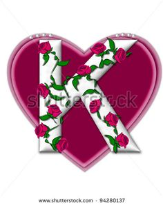 K Letter In Rose in the alphabet set Rosey Vine, is a white letter with climbing ...