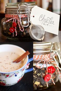 Chai Tea Kit 24 Delicious Food Gifts That Will Make Everyone Love You Christmas Gifts For Cousins, Homemade Christmas Gifts, Homemade Gifts, Diy Food Gifts, Edible Gifts, Jar Gifts, Gift Jars, Chai, Diy Cadeau Noel
