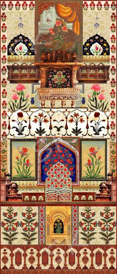 Digital Design inspired by Mughal Art on Behance Mughal Miniature Paintings, Mughal Paintings, Design Textile, Art Design, Mughal Architecture, Art And Architecture, Islamic Art Pattern, Pattern Art, Textiles