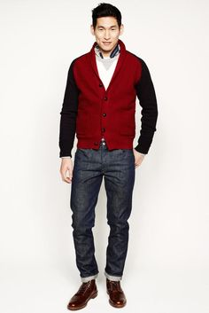 This pairing of a red shawl cardigan and charcoal jeans will allow you to flex your prowess in menswear styling even on lazy days. Complement this look with a pair of brown leather casual boots for extra style points. Winter Typ, Fall Winter 2014, Men's Collection, Winter Collection, Vogue Paris, Dark Grey Jeans, Looks Jeans, Latest Mens Fashion, Man Style