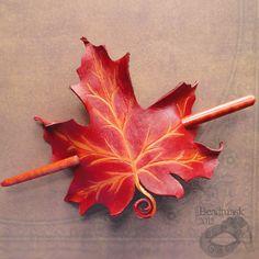 Red Maple Leather Leaf Hair Slide Hair Stick or Barrette. $22.00, via Etsy.