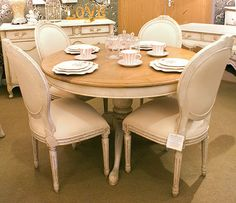 12cf1027025 Chateau Lyon Round Pedestal Dining table Set Round Pedestal Dining Table