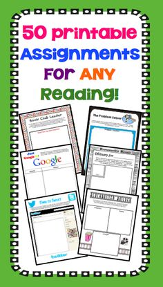 Gone are the days of boring book reports and reading responses! This multi-faceted resource provides fun ready-to-use assignments that will work for any novel or short story that your students are reading. Each of the one page assignments can be printed and handed to your students – it's that easy!