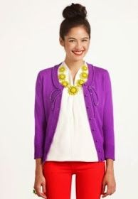 Work style: bright jewelry softens a professional look