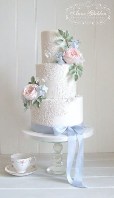 Bespoke Wedding Cakes, Cupcakes and Favours in Bristol Big Wedding Cakes, Floral Wedding Cakes, Elegant Wedding Cakes, Wedding Cakes With Flowers, Beautiful Wedding Cakes, Gorgeous Cakes, Wedding Cake Designs, Flower Cakes, Elegant Cakes