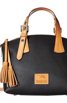 Dooney & Bourke Patterson Trina Satchel (Black/Butterscotch Trim) Satchel Handbags - Dooney & Bourke, Patterson Trina Satchel, BPTSN0757-001, Bags and Luggage Handbag Satchel, Satchel, Handbag, Bags and Luggage, Gift - Outfit Ideas And Street Style 2017