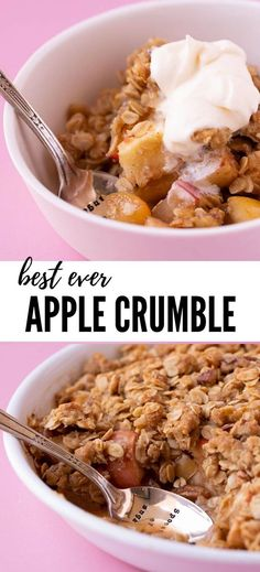 Easy Apple Crumble, featuring juicy apples topped with a crunchy oat crumble. This simple dessert only uses regular ingredients and is a great way to feed a crowd. Apple Desserts, Easy Desserts, Delicious Desserts, Yummy Treats, Apple Crumble With Oats, Simple Apple Crumble Recipe, Best Oatmeal Cookies, Baking Recipes, Apple Recipes