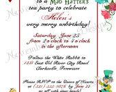 Tim Burton's Alice in Wonderland Custom Birthday Invitation