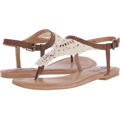 Not Rated Crochet Me Down (Tan) Women's Sandals ($23) ❤ liked on Polyvore featuring shoes, sandals, tan, tan sandals, not rated shoes, toe thongs, not rated sandals and crochet shoes