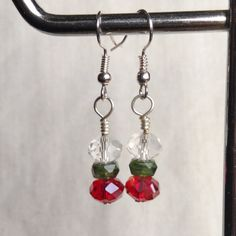 Christmas sparkly earrings red green crystal silver . made in Ireland. by terramor on Etsy