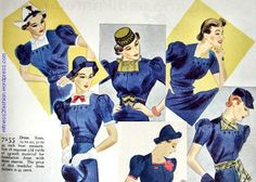 """Companion-Butterick pattern 7255, WOman's Home Companion, March 1937. Available in sizes 12 to 20 and bust 30 to 44;"""" this pattern cost 45 cents."""