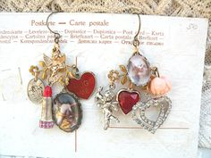 valentine earrings mismatch assemblage love by lilyofthevally