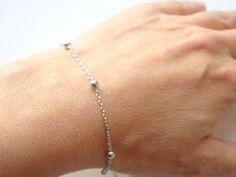 Thin silver chain bracelet, everyday and simple, perfect layering jewelry piece, great gift for friendship.