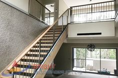 Stainless Steel Rod Balustrade:-Stainless steel double flat bar posts with pin & OD top rail with OD horizontal rod infills. Stainless Steel Balustrade, Stainless Steel Rod, Metal Working, Stairs, Home Decor, Stairway, Decoration Home, Metalworking, Room Decor