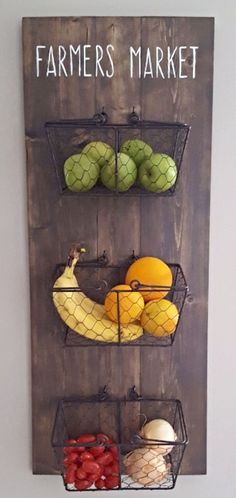 Rustic Hanging Fruit Baskets #kitchen #diy #homedecor