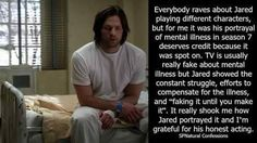 Jared fights with mental illness. 《 Believe me, fighting it doesn't always make it easier to express. Funny Supernatural Memes, Supernatural Actors, Supernatural Pictures, Meaningful Quotes, Inspirational Quotes, Keep Fighting, Jensen Ackles Jared Padalecki, Super Natural, Sam Winchester