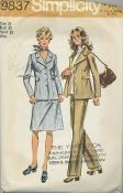 An original ca. 1971 Simplicity Pattern 9837.  Misses' and Women's Unlined Jacket, Skirt and Pants: The skirt and pants with side zipper have waistband. The unlined jacket with front button closing has notched collar, long set in sleeves, button trimmed tabs stitched in side seams and fastened to front.