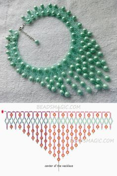 Free pattern for beaded necklace Fresh Mint | Beads Magic