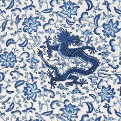 Scalamandre CHI'EN DRAGON LINEN PRINT Indigo Fabric