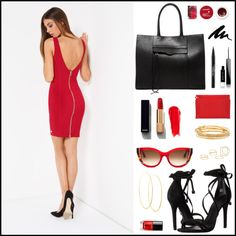 A touch of red by metonweb on Polyvore featuring moda, Schutz, Rebecca Minkoff, Loewe, Kate Spade, Lana, MANGO, Thierry Lasry, Chanel and NARS Cosmetics #metjeans #met #jeans #style #fashion #woman #apparel #accessories #fall #winter #collection #shopping #online