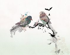 Große Gemälde, Leinwand, schwarz und weiß Freihandzeichnung, Liebe Vögel