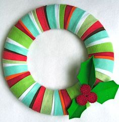 Felt Holly on felt wreath