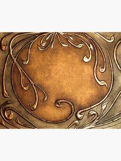 Copper Art Nouveau style-hot glue and faux copper Motifs Art Nouveau, Design Art Nouveau, Motif Art Deco, Feuille Aluminium Art, Hot Glue Art, Jugendstil Design, Gun Art, Copper Art, Copper Penny