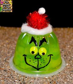 Grinch Jello Fruit Cups- healthier Christmas treat