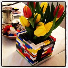 Lego vases = perfect geeky wedding centerpieces!