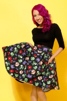Our Lovecraft print on the LIttle Jun skirt from Pinup Girl Clothing -- coming in a few weeks!