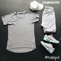 Today's top #outfitgrid is by @starkeezy88.  ▫️#AntiSocialSocialClub #Cap  ▫️#JohnElliottCo #Tee & #Sweats  ▫️#Nike #AirMax90 #NikeiD #flatlay #flatlays #flatlayapp www.flat-lay.com