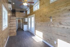 The interior is finished in pine tongue and groove walls
